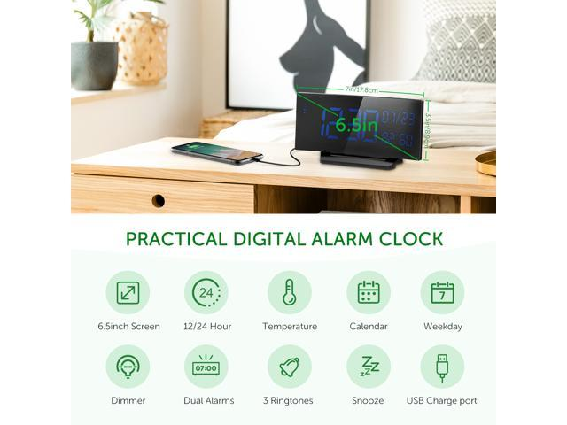 Mpow Alarm Clock Temperature, 6.5'' Curved-Screen Digital Alarm Clock, Dual Alarm with 3 Changeable Sounds, Weekday Alarm Clock with Humidity for Home, Office
