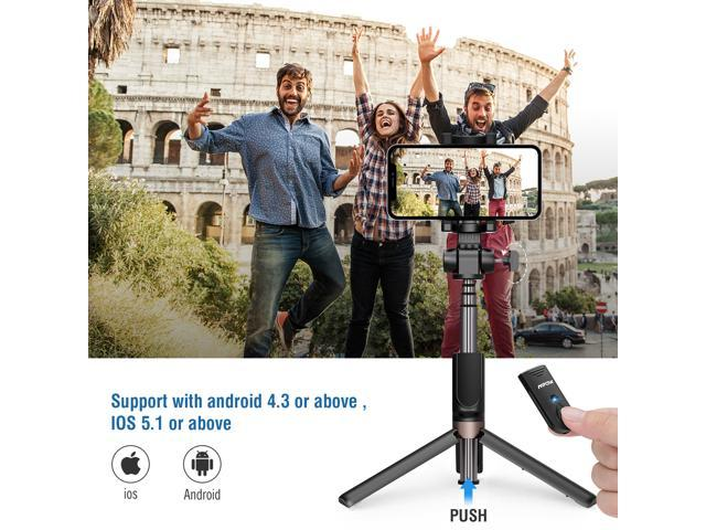 Mpow Bluetooth Selfie Stick, Bluetooth Monopod with Foldable Tripod Stand and Remote Control, Extendable 360° Rotation Phone Holder for iPhone 8/8 Plus/7/7 Plus/Galaxy S8 /S8 Plus/Google Pixel