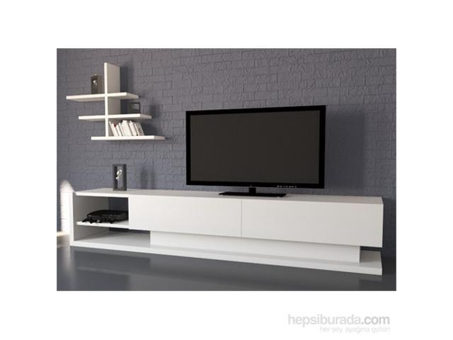 "Decorotika - Liza 71""  White TV Stand - Entertainment Center with Accent Wall Shelf"