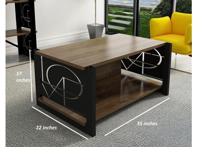 Decorotika Love Metal Frame Industrial Coffee Cocktail Table Storage Shelf Living Room, Accent Furniture