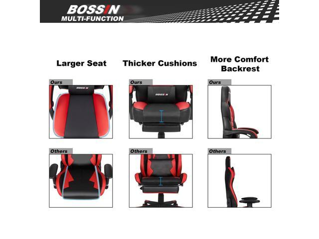 BOSSIN Racing Style Gaming Chair Computer Desk Chair with Footrest and Headrest, Ergonomic Design, Large Size High-Back E-Sports Chair, PU Leather Swivel Office Chair(Red)