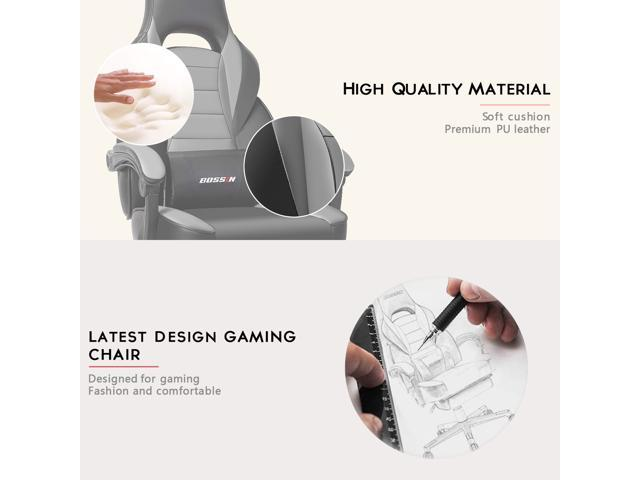 BOSSIN Racing Style Gaming Chair Computer Desk Chair with Footrest and Headrest, Ergonomic Design, Large Size High-Back E-Sports Chair, PU Leather Swivel Office Chair(Gray)