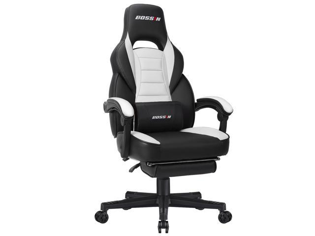 BOSSIN Racing Style Gaming Chair Computer Desk Chair with Footrest and Headrest, Ergonomic Design, Large Size High-Back E-Sports Chair, PU Leather Swivel Office Chair(White)
