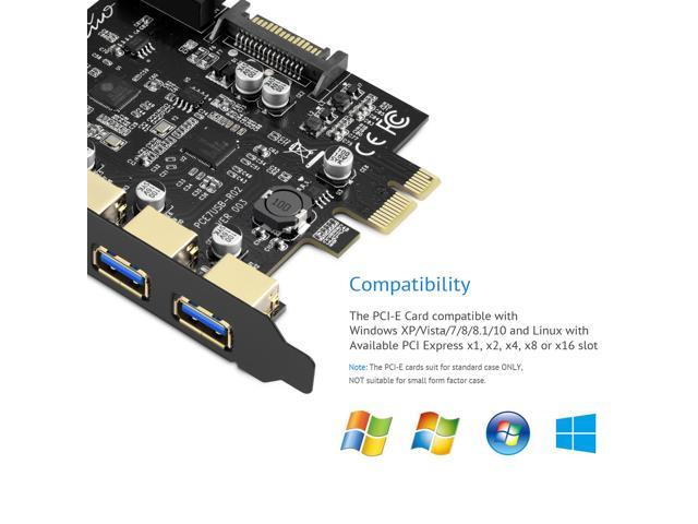 Rivo PCI Express Riser USB 3.0 Card 5-Port PCI Extender Card and 4 Pin Power Connector,PCI-E USB 3.0 Hub Controller Adapter with Interna 19 Pin Connector - Expand Another Two USB 3.0 Ports