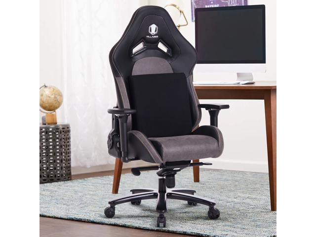 KILLABEE Big and Tall 440lb Memory Foam Gaming Chair with Gel Cold Cure Foam Lumbar/Seat Cushion & 4D Adjustable Arms, Heavy Duty Metal Base, Swivels & Reclines Ideal For Gamers & Office Workers