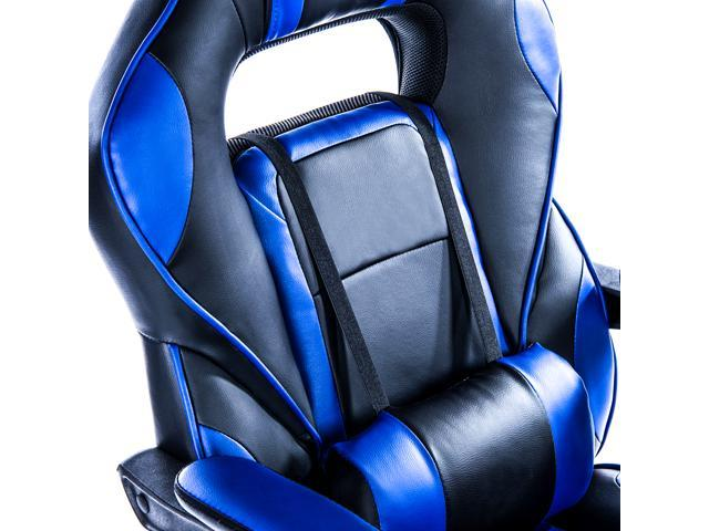 KILLABEE Reclining Memory Foam Racing Gaming Chair - Ergonomic High-Back Racing Computer Desk Office Chair with Retractable Footrest and Adjustable Lumbar Cushion, Blue