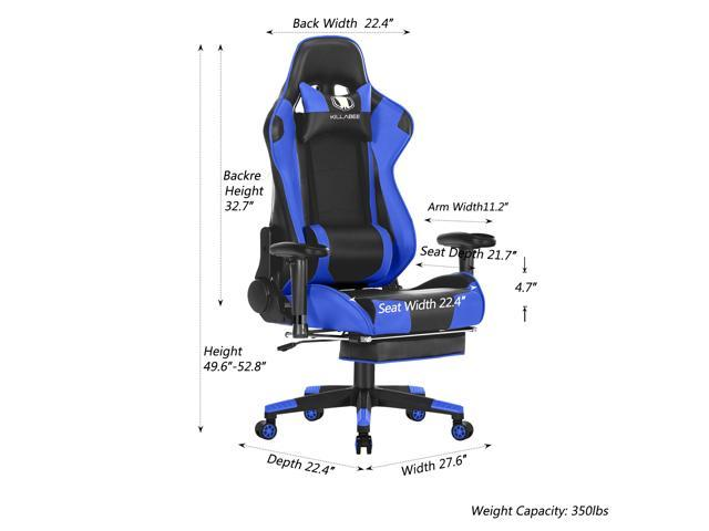 KILLABEE Big and Tall 350lb Massage Memory Foam Gaming Chair - Adjustable Massage Lumbar Cushion, Retractable Footrest High Back Ergonomic Racing Style Computer Desk Leather Office Chair, Blue/Black