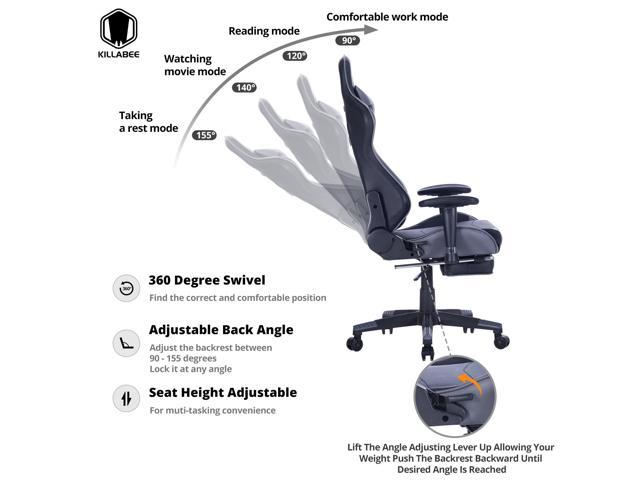 KILLABEE Big and Tall 350lb Massage Memory Foam Gaming Chair - Adjustable Massage Lumbar Cushion, Retractable Footrest High Back Ergonomic Racing Style Computer Desk Leather Office Chair, Gray/Black