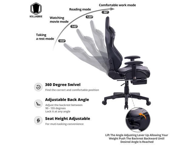 KILLABEE Big and Tall 350lb Massage Memory Foam Gaming Chair - Adjustable Massage Lumbar Cushion, Retractable Footrest High Back Ergonomic Racing Style Computer Desk Leather Office Chair, Black