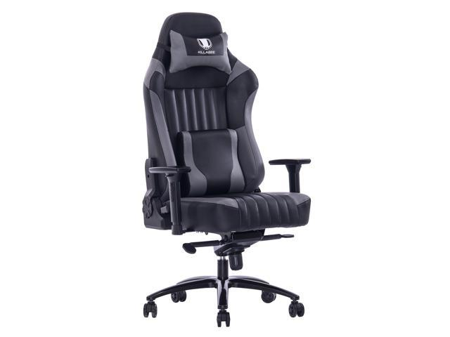 KILLABEE Big and Tall 400lb Memory Foam Gaming Chair - Adjustable Tilt, Back Angle and 3D Arms Ergonomic High-Back Leather Racing Executive Computer Desk Office Chair Metal Base, Gray