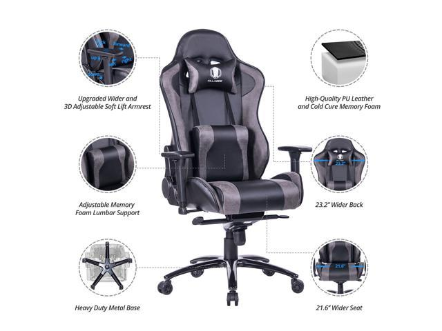KILLABEE Big and Tall Metal Base Gaming Chair - Ergonomic Leather Racing Computer Chair High-Back Office Desk Chair with Adjustable Memory Foam Lumbar Support and Headrest, Gray/Black