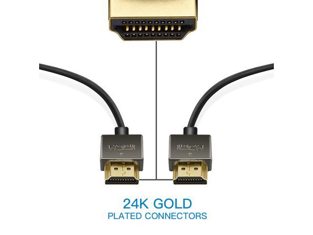 EHD-8.2ft [2-Pack] Super Slim 4K HDMI Cable -18Gbps High-Speed Supports Full 1080P, 4K, UltraHD, 3D, 36AWG, Ethernet, and Audio Return Channel, Black