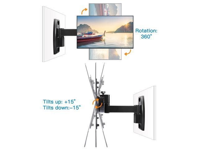 """Wall Mount TV Bracket for 15""""-47""""TVs with Max VESA 400x400 fits LED, LCD, OLED Flat Screen TVs up to 60lbs - ETVM-29B4E Black"""