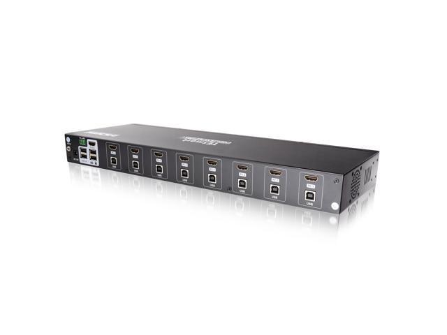 TESmart 8Ports HDMI KVM Switch 4K UHD, USB 2.0, RS232/ LAN Port, 4Pcs 5ft/1.5m KVM Cables included, Console Rack Mount, Control of 8 Computers/Servers