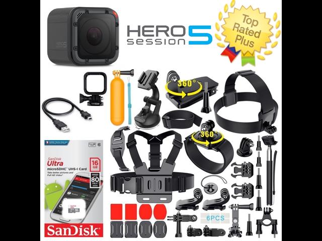 GoPro HERO5 Session Waterproof Camera + Sports Accessories Bundle (40+ Pcs)