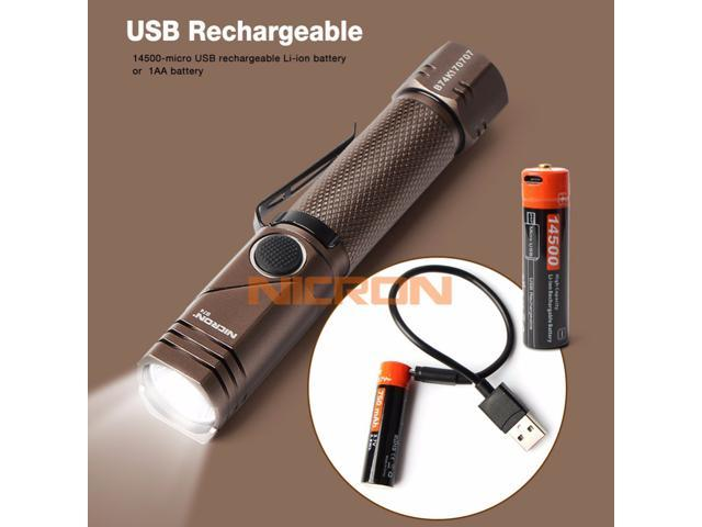 NICRON Rechargeable Led Flashlight Handfree Dual Fuel 90 Degree Twist Rotary Clip 600LM Waterproof Magnet Mini Lighting LED Torch Outdoor B74