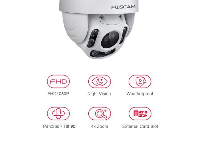 Foscam FI9928P Outdoor PTZ (4x Optical Zoom) HD 1080P WiFi Security Camera - Pan Tilt Wireless IP Camera with Night Vision up to 196ft, IP66 Weatherproof Shell, WDR, Motion Alerts