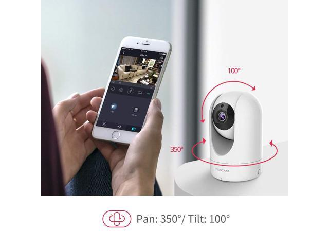 foscam full hd 1080p wifi ip camera, 2mp indoor pan/tilt home security surveillance camera with night vision, twoway audio, motion/sound detection, free image/video cloud service available white