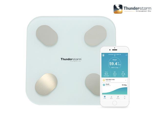 Thunderstorm Bluetooth Body Fat Digital Scale bathroom weight, body water, fat ratio, bone mass, BMI, BMR, visceral fat index, muscle weight and protein rate
