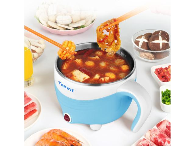 Topwit Electric Hot Pot 1.5L, Rapid Noodles Cooker, Mini Pot, Cook Perfect for Ramen, Egg, Pasta, Dumplings, Soup, Porridge, Oatmeal, Blue - A Must Have Cooker For Student