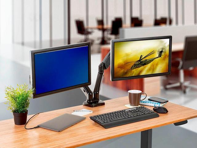 Monoprice Smooth Full Motion Dual Monitor Adjustable Gas Spring Desk Mount - Black For Smaller Screens, Supports Up To 27 inch Monitors, With 14.3 LBS Max Weight Per Display, Easy Setup