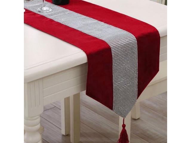 Sparkle Luxury Diamante Table Runner Velvet Wedding Party Ornament 32 x 250cm Red