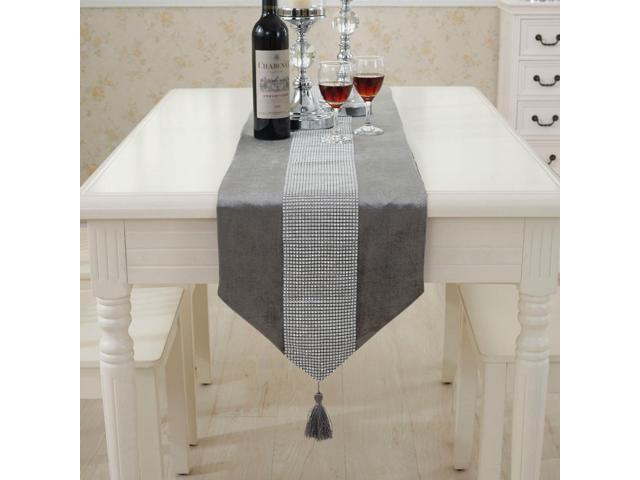 Sparkle Luxury Diamante Table Runner Velvet Wedding Party Ornament 32 x 210cm Gray