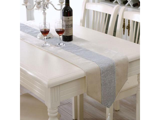 Sparkle Luxury Diamante Table Runner Velvet Wedding Party Ornament 32 x 250cm Cream
