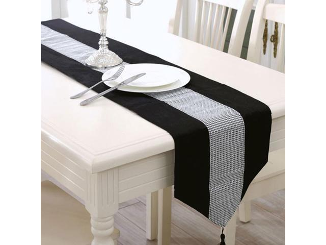Sparkle Luxury Diamante Table Runner Velvet Wedding Party Ornament 32 x 250cm Black