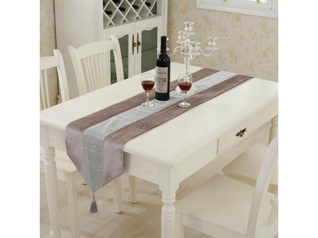 Sparkle Luxury Diamante Table Runner Velvet Wedding Ornament 32 x 250cm Champagne