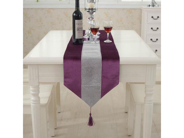 Sparkle Luxury Diamante Table Runner Velvet Wedding Ornament 32 x 250cm Purple