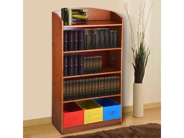 5 Tier Wood Bookshelf Bookrack with 3 Non-woven Bins Storage Organizer Bookcase Shelving Furniture