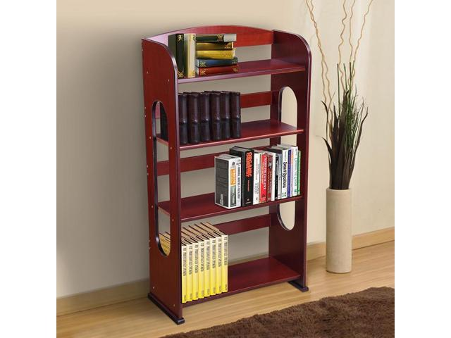 4 Tier Wood Bookcase Bookshelf Hollow Out Storage Organizer Display Shelving Mahogany Finish Home