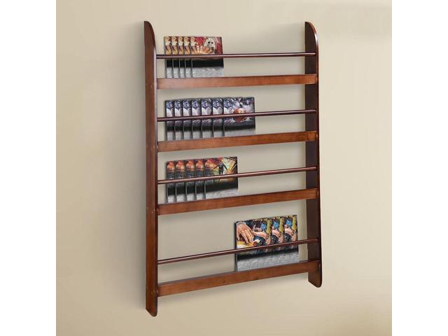 4 Tier Wood Wall Mounted Bookshelf Floating Shelf Book Rack Organizer Display Space Saving Home
