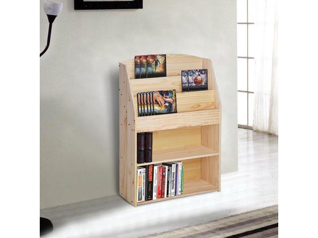 Wood Bookshelf Bookrack Storage Organizer Display Bookcase Shelving Natural Wood Color Home Decor