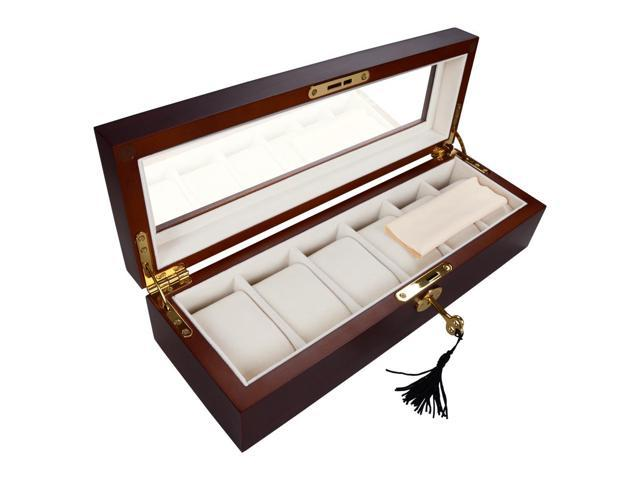 6 Mens Watch Display Case Wood Glass Top Jewelry Collection Storage