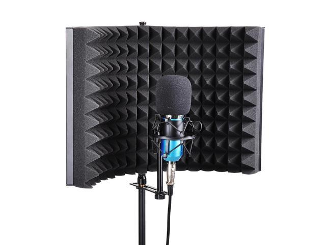Studio Microphone Isolation Shield Acoustic Foam Panel Sound Absorbing Recording Panel Stand Mount