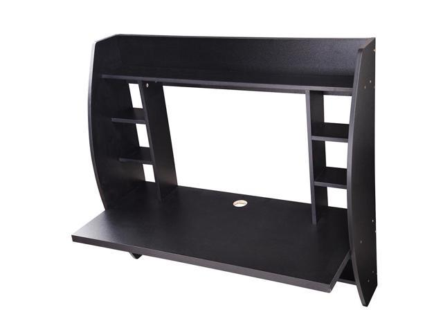 Wall Mounted Floating Computer Desk With Storage Shelves Laptop Home Office  Furniture For Work Black ...