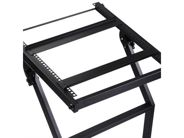 "19"" DJ Rack Mount Studio Mixer Stand Rolling Stage Cart Adjustable Music Show 9U"