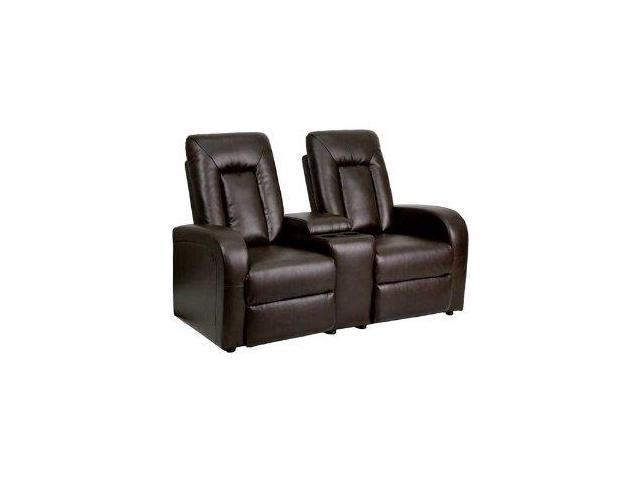 Flash Furniture Brown Leather 2 Seat Home Theater Recliner With Storage Console