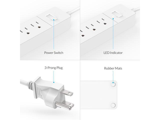Orico 1875w 6 Ac Outlets Power Strip With 3 Smart Usb Charging Ports