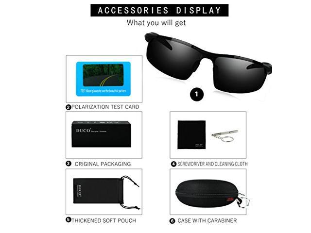 8b183313fbe Duco Men s Sports Style Polarized Sunglasses Driver Glasses 8177S (Silver  Frame Revo Gold Lens) ...