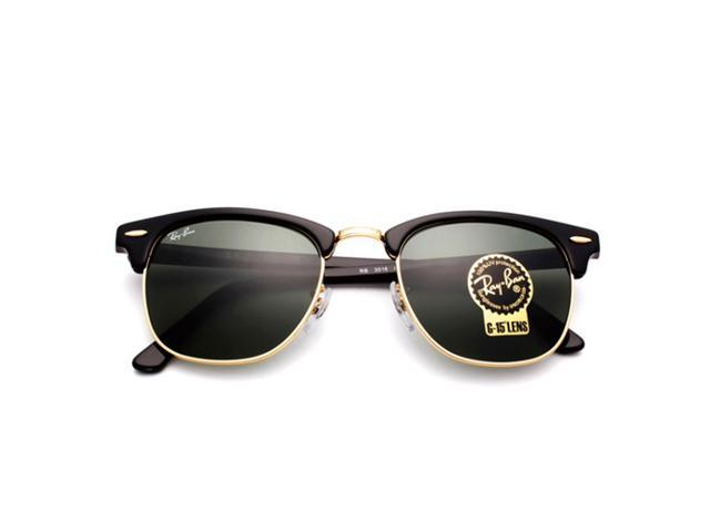 dfd1147494 Ray-Ban Classic Clubmaster RB3016 W0365 Black Arista Gold Frame G-15 Lens  ...