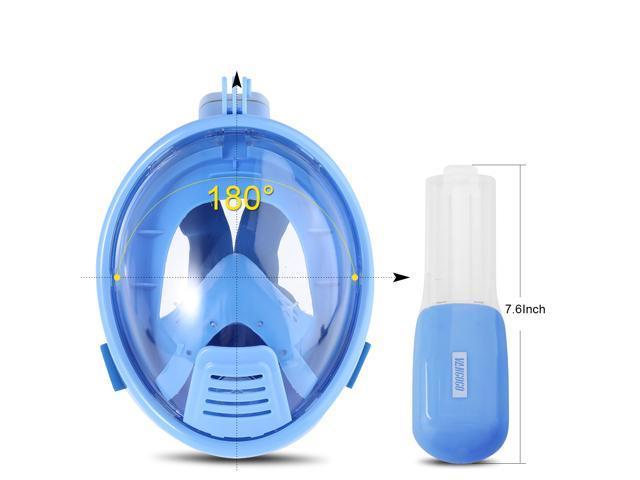 Vangogo S3 180 Full Face Snorkel Mask (XS, Blue)