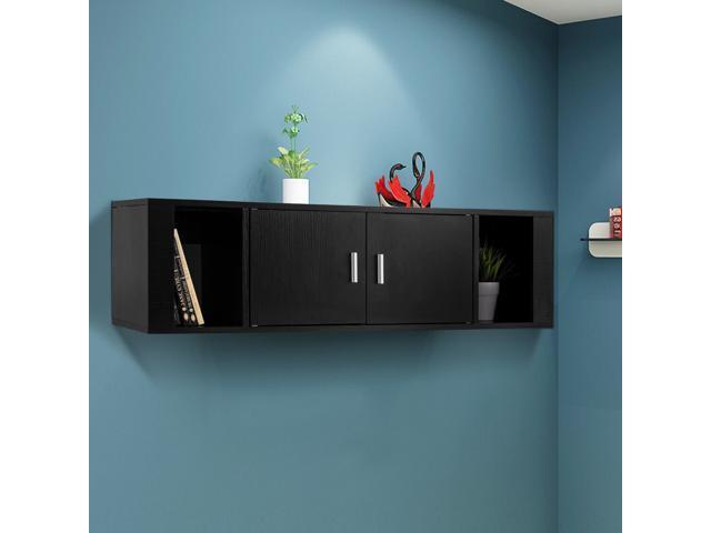 2 Cube Wall Mounted Floating Hutch 2 Door Media Storage Cabinet Desk Black  ...
