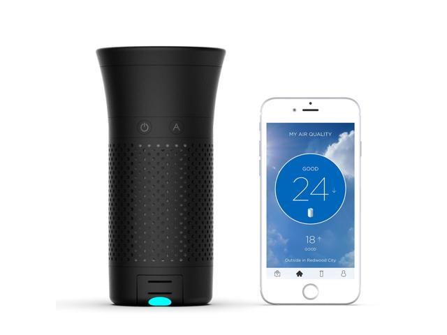Wynd Smart Portable Air Purifier with Detachable Air Quality Tracker (Black Matte)