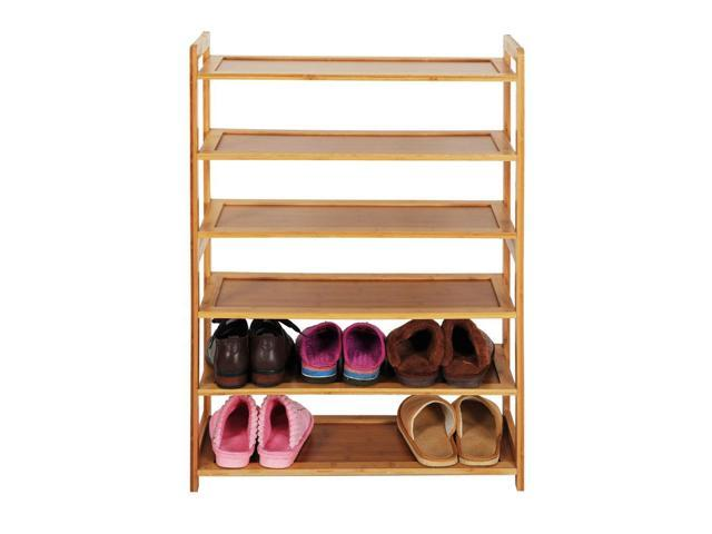 6 Tier Portable Nature Bamboo Shoe Rack
