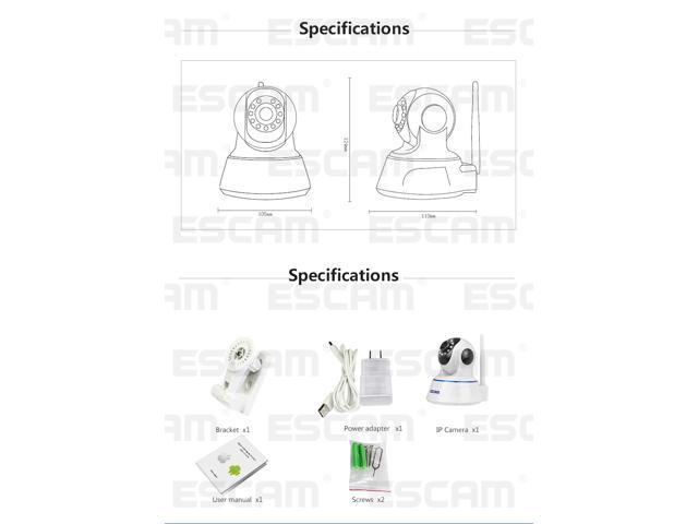 Escam Qf002 720p Cctv Security Camera Plugplay Wifi Pan Tilt Ir Cut