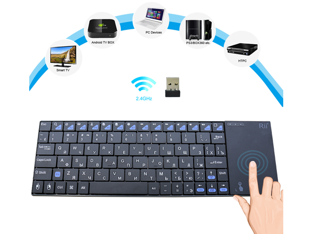 eab8a1ef1ab Rii mini i12 Ultra Slim Wireless 2.4G Multifunction Keyboard with QWERTY  Touchpad for Sony PS3 ...