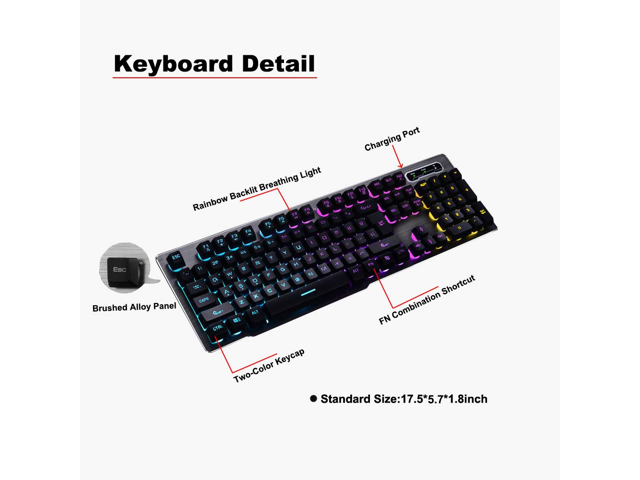 aabc1605d7e Zgeer Keyboard and Mouse Combo,Wireless 2.4G Technology,1000mAhLarge  Capacity,Suspended Keycap ...